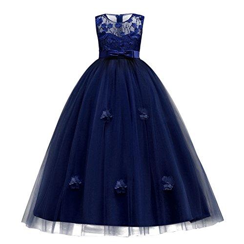 Vestito principessa per ragazza elegante floreale fiore pizzo abiti da sera matrimonio damigella d'onore tulle blu navy 12-13 anni