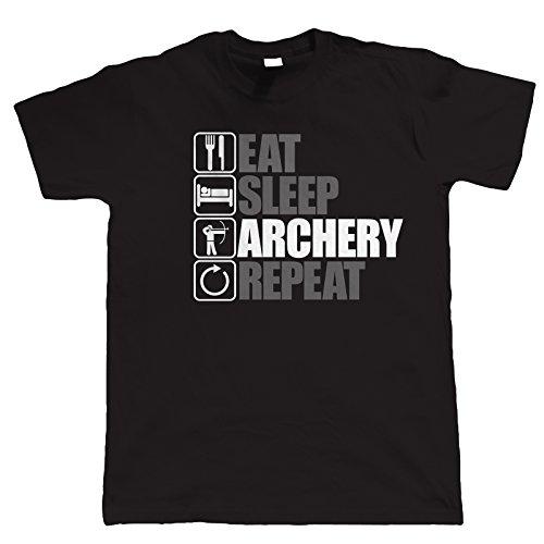 Vectorbomb, Eat Sleep Bogenschießen Wiederholen sie die, Herren Lustige Bogenschießen T-Shirt (S zu 5XL) Schwarz