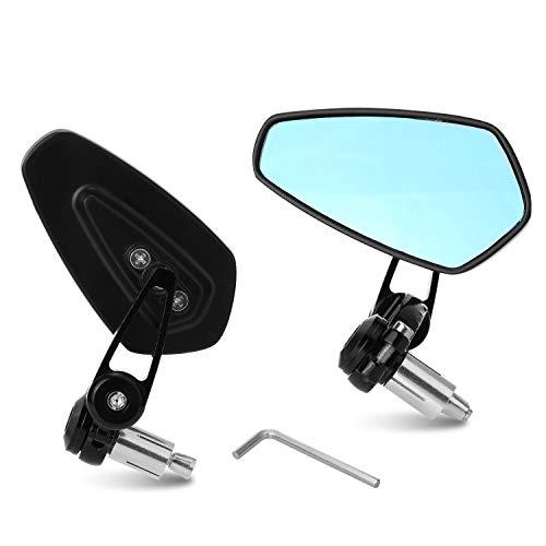 """Yizhet 7/8\"""" 22 mm Espejos de manillar de la motocicleta Espejo retrovisor de la moto de CNC aluminio universal Se (Negro)"""