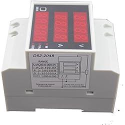 D52-2048 Carril DIN Digital de Voltaje de Corriente Voltímetro Medidor de Potencia Amperímetro