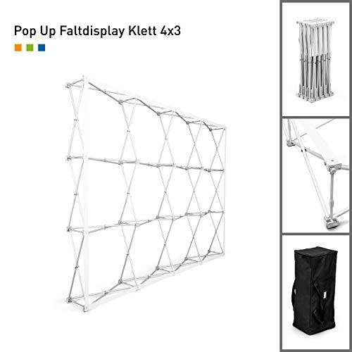 Messewand Pop Up Klett mit gerader Wand | ✓ faltbare Messewand | ✓ Faltdisplay mit Klettsystem (4 x 3 Felder)