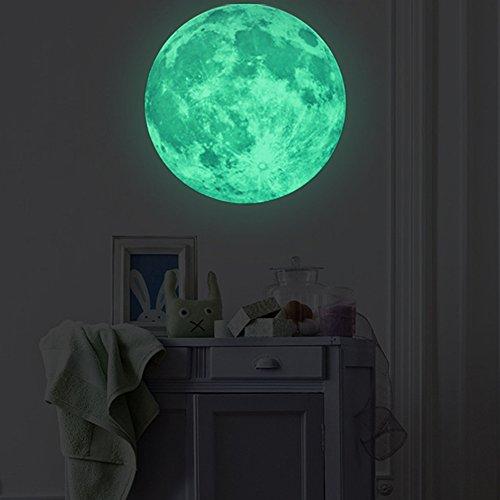 Extsud Wandsticker Leuchtaufkleber Leuchtsticker 50CM Mond fluoreszierend Wandaufkleber Hausdekoration für Schlafzimmer Wohnzimmer Kinderzimmer Grün