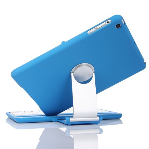 Tastiera con supporto girevole a 360°, per Apple iPad mini 4, KVAGO a conchiglia, girevole, con tastiera Bluetooth Wireless con custodia protettiva Flip Turn Custodia con tastiera, per Apple iPad mini 4 2015-Release iPad mini 1/2/3 - Blue for iPad mini 1/2/3