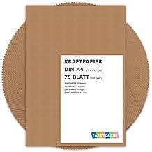75 hojas de papel de estraza cartón kraft DIN A4 280 gr/m2 Natural en alta calidad, ideal para manualidades y DIY marrón gitano tarjetas boda invitación