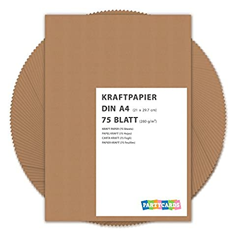 75 Sheets of Kraft Paper / Card A4 280g/m² Quality Cardboard Ideal for Craft and DIY / Brown