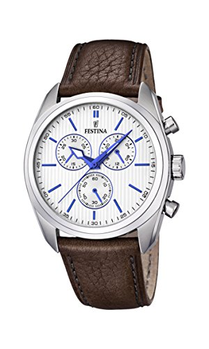 Festina Men's Quartz Watch with White Dial Chronograph Display and Brown Leather Strap F16779/2