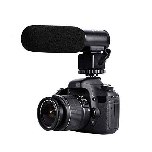 Microfono per fotocamera DSLR, microfono a condensatore per interviste e video, 3,5 mm, interfaccia per videocamera Nikon, Canon, smartphone