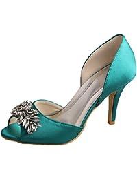 Aisun Damen Spitz Künstliche PU Brautjungfern Hochzeit Schuhe Sandalen Grün 42 EU
