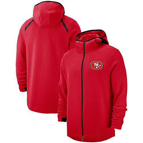 SKLLA Red Rugby Hoodie mit Reißverschluss San Francisco 49ers Jugend Pullover American Football Fashion Rugby Jacke (S-3XL),XL~(175~180CM)