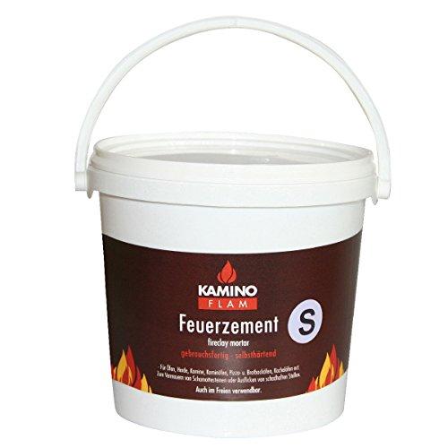 KaminoFlam Feuerzement 3 kg - Ofen Schamottmörtel hitzebeständig - Schamottemörtel feuerfest - Ofenzement für Herd, Kamin, Kaminofen & Pizzaofen
