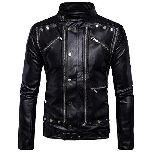 TFGY Herren Kunstleder Jacke Biker-Look Lederjacke dünn gefütterte Übergangsjacke-Mehrfacher Reißverschluss,Black,XXXXXL