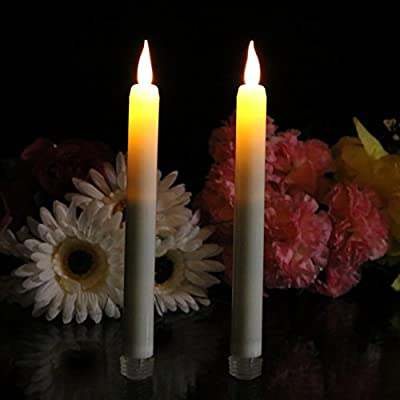 Set of 2 Flameless Battery LED Cream Taper Candles Amber Flicker Flame with Timer by PK Green by PK Green