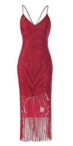 ezShe Women's Lace Bodycon Dresses Strappy Tassel Pencil Dress