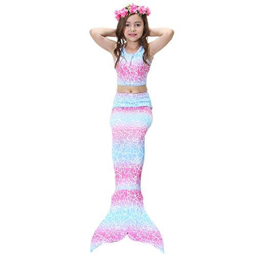 Superstar88 Meerjungfrauenschwanz zum Schwimmen mit Bademode und Blumenkranz Mädchen Meerjungfrau Cosplay Kostüme, Kinder Meerjungfrau Flosse (Romantische Fee, 150)