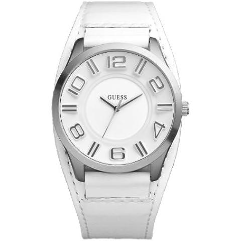 Guess Stand out W12624G1 - Reloj de caballero de cuarzo, correa de piel color blanco