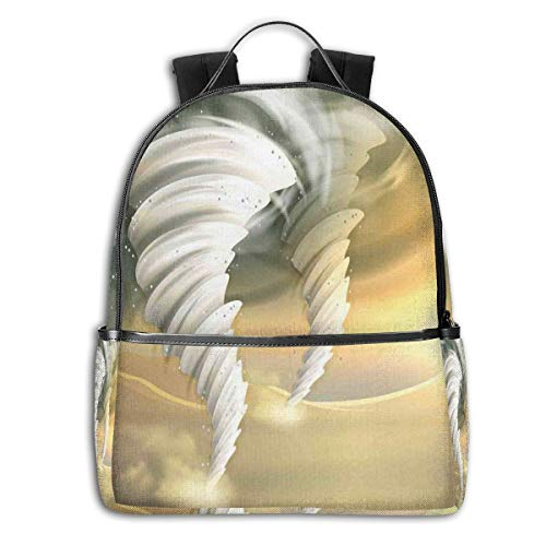 College Backpacks for Women Girls,Abstract Hurricane Swirls with Sun Clouds On Desert Landscape,Casual Hiking Travel Daypack Motiv Hurricane
