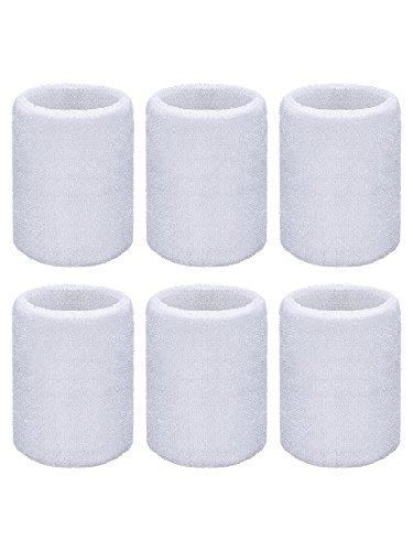 Willbond 6 Packung Sport Wristbands Absorbierende Schweißbänder für Fußball Basketball, Leichtathletik (Weiß)