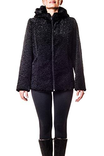 Pelliccia ecologica wolves in saldo. giacca in ecopersiano nero con cappuccio. made in italy. taglia m