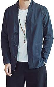 Lavnis Men's Kimono Cardigan Casual Cotton Linen Long Sleeves Open Front