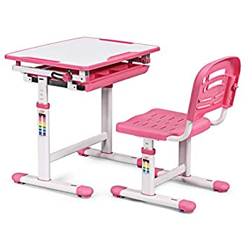 GYMAX. Children Study Desk Chair Set with Adjustable Height, Anti-pinch Stopper, Tilted Surface, Multi-Storage Design, Multi-function Study Desk and Chair