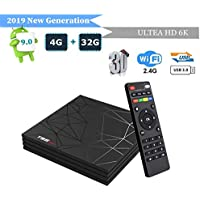 Android 9.0 TV Box, Newest Box Smart T95 Max 4GB RAM 32GB ROM H6 Quad-Core Cortex-A53 Mali-T720MP2 Media Player Support 6K H.265 100M LAN Internet 2.4GHz WiFi 3D Set Top Box with USB 3.0
