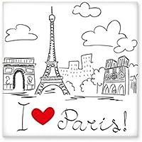 I Love Paris France Eiffel Tower - Azulejos de cerámica para decoración de baño, cocina, azulejos de pared
