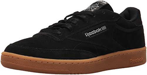 Reebok Men\'s Club C 85 GS Cross Trainer, Black/Skull Grey-Gum, 8 M US