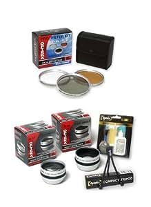 Opteka HD² .5x Wide Angle, 2x Telephoto, & 3 Piece Lens Filter Set for Sony HDR-CX11E, CX6EK, HC9E, HDR-SR11E, & SR12E Digital Handycam Camcorders