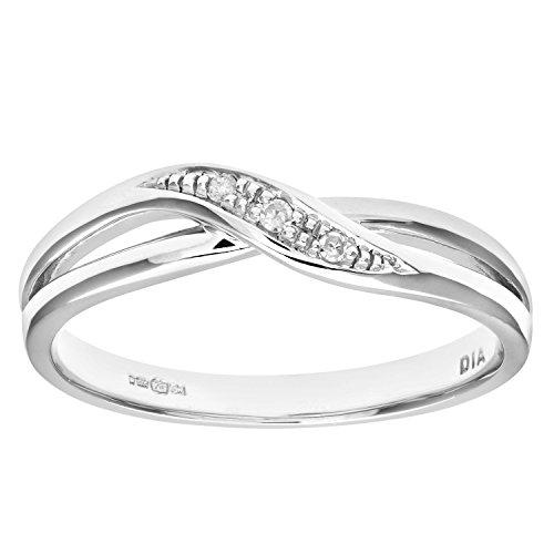 Naava PR08741W(N) - Anillo de mujer de oro blanco (9k) con 3 diamantes (talla: 14)