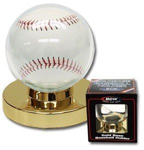 Baseball Holder Display Case with Gold Base - 6 Pack by Steve's Collectibles