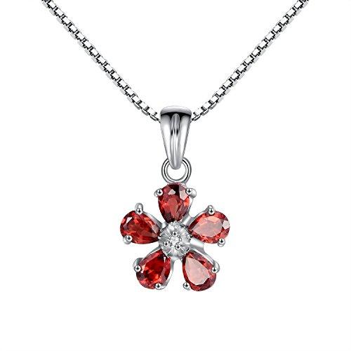 100% echte rote Granat & CZ 925 Sterling Silber Weiß Vergoldung-Blumen-Anhänger Halskette für Frauen (Ewigkeit Silber Granat Ring)