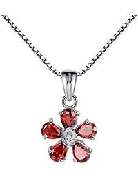 100% echte rote Granat   CZ 925 Sterling Silber Weiß Vergoldung-Blumen- Anhänger cd28a1903e