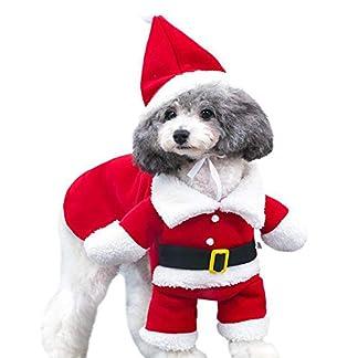fpengfashion Disfraz de Papá Noel para Mascotas con Sombrero para Perro, Disfraz para Cosplay de Vacaciones, Ropa para Cachorro, Abrigo cálido para Invierno