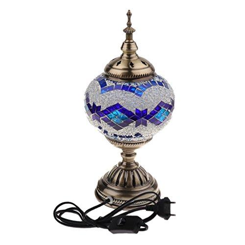 perfk Lámpara de Mesa Cabecera Hecho A Mano Estilo Turco Mosaico Escritorio Luz Cómodo - Azul
