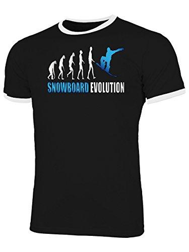 Snowboard Evolution 2070 Wintersport Apres Ski Shirt Tshirt Fanartikel Fanshirt Männer Herren Ringer T-Shirts Schwarz Weiss Aufdruck Blau L (Snowboard T-shirts)