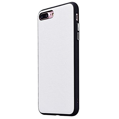 Yokata iPhone 7 Plus / iPhone 8 Plus Hülle Weich Silikon Gel Clear TPU Case Handyhülle Schutzhülle Schale Etui Ultra Slim mit Leder Material Backcover Silicone Bumper Protective Cover für iPhone 7 Plu Weiß