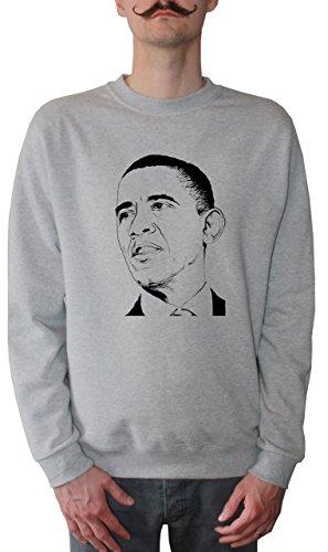 Mister Merchandise Herren Pullover Sweater Barack Obama , Größe: XXL, Farbe: Grau Barack Obama Sweatshirt