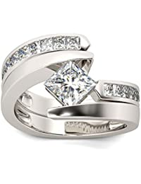 Naitik Jewels 925 Sterling Silver Princess Cut Diamond Engagement Ring For Women