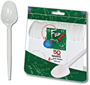 Fun® Everyday Disposable Plastic Cutlery Set 6.5 inch - White - Pack of 50