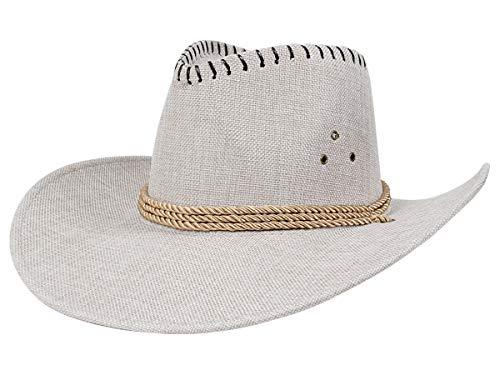 Kostüm Texaner - Alsino Premium Leinen Cowboyhut - Cowboy Hut für Erwachsene & Kinder - Höhe: 12,5 cm & Breite: 35,5 cm - Mit Kordel - Farbe: Beige Silber