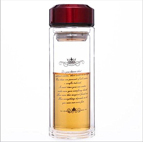 Edelstahl Brauen Topf (Boutique Business Doppelte Glas Cups Kreative Glas Tasse Tee Infuser Tasse Glas Brauen Teetasse ( Color : Red ))