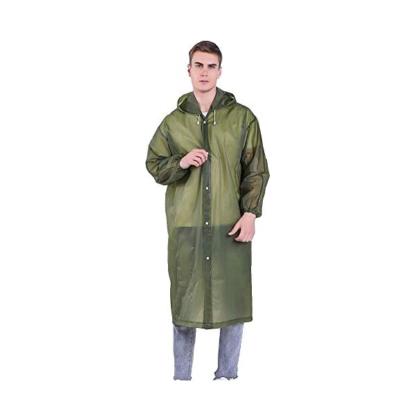 Luoistu Reusable Rain Ponchos, EVA Waterproof Raincoat with Drawstring Hood and Long Sleeves; Emergency Poncho (145cm / 57inch) for Travel, Festivals, Theme Parks and Outdoors 2