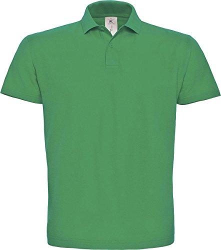 B & C ID. 001Short Sleeve Polo Shirt Herren Casual Wear 2Button Baumwolle Tee Top Grün - Kelly Green