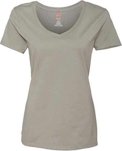 Hanes Damen T-Shirt Nano-T, V-Ausschnitt Vintage Gray
