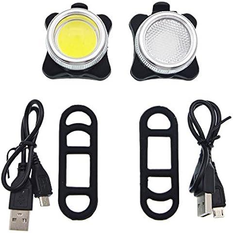 Actualizado LED de luz de la bici, iParaAiluRy brillante recargable USB de 4 modos a prueba de agua de bicicletas de montaña bicicleta de carretera trasera de la linterna Conjunto, fácil de instalar con el sostenedor del anillo de goma
