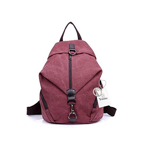 Yoome Canvas Vintage Backpack Purse con Hasp Zipper School College Bookbag per donne e uomini Purple Coffee