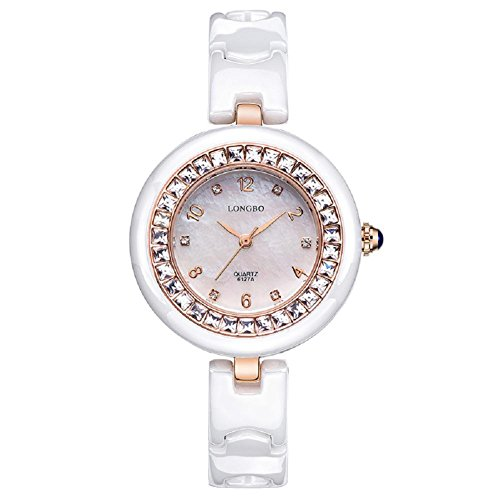 Diamant Keramikuhr weiße Frau einfach wasserdicht Damen Quarzuhr , rose gold