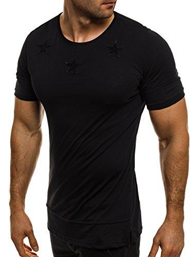 OZONEE Herren T-Shirt mit Motiv Kurzarm Rundhals Figurbetont BREEZY 9055 Schwarz_BR-1011/17
