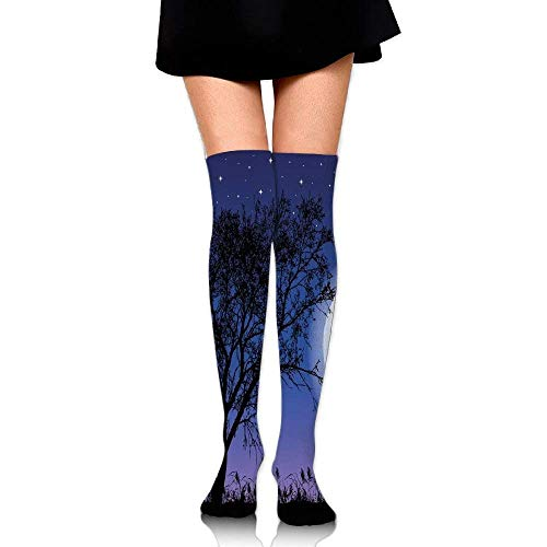 OQUYCZ Woman Romantic Composition with Full Moon Sky Tree Man and Woman in Love Hugging Summer High Boot Socks