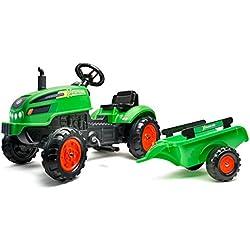 Falk Tracteur à pédales X Tractor Vert avec Capot ouvrant et remorque Inclus, 2048AB